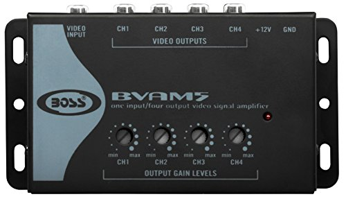 BOSS Audio BVAM5 One In/Four Out Car Video Signal Amplifier - Amplifies Video Signal to Maintain Picture Quality in Multi-Monitor Systems
