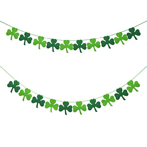 Jky St. Patrick's Day Banner Decoratie, kunstgroene klaverblad decoraties bladeren krans hangen Party slinger decoraties glitter klaverblad voor bruiloft party tuin wanddecoratie