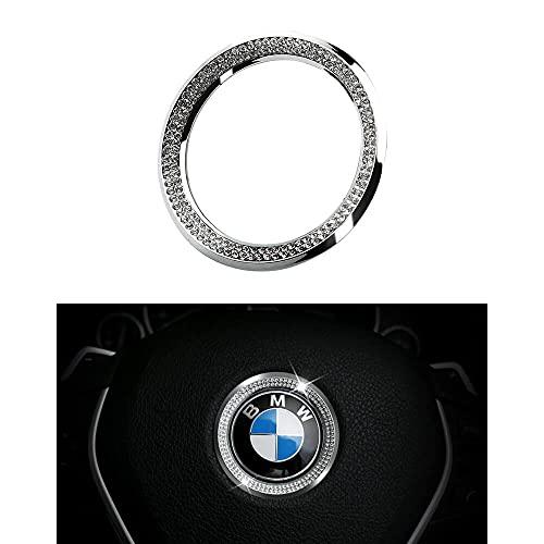 BLINGOOSE für BMW Zubehör Lenkrad Emblem Aufkleber BMW 3 5 6er X1 X2 X3 X4 X5 M2 M3 M6 Glitzer Car Auto Deko Strasssteine Silber 1St