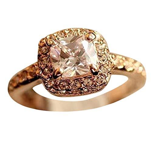 minjiSF Anillo cuadrado de diamante fino para mujer, moderno, magnífico, anillo de compromiso, alianzas, alianzas de boda, anillo de mujer, elegante, joya con personalidad, accesorio de joyería (oro)