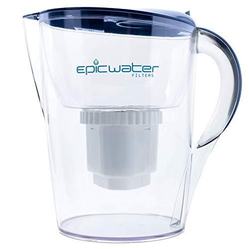 Epic Pure Filtro de Agua Jarra   sin BPA   Quita fluoruro, Plomo, Cromo 6, PFOS PFOA, Metales Pesados, microorganismos, plaguicidas, Productos químicos y Industrial contaminantes Azul Marino