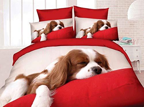 Wzhfsq Fxirza 3 Pieces Duvet Cover,3D Printed Animal Dog 260 * 230Cm Bedding Set,2 Pillowcases,Hidden Zipper,Polyester Fiber Sport Quilt Cover