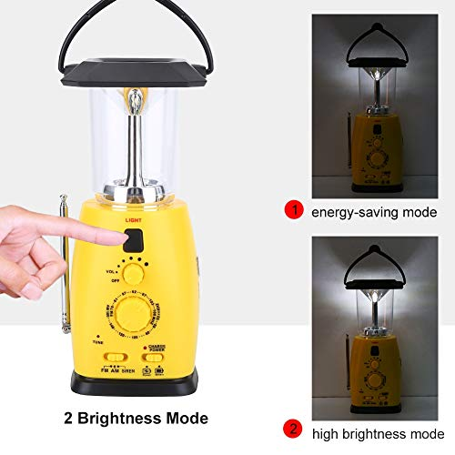 Camping Lantern, 4-In-1 Solar USB Rechargeable LED Outdoor Light, Hand Crank Flashlight Tent Torch Lamp with AM/FM Radio Emergency Phone Charger, Camping Lamp for Hiking Fishing Power Cuts