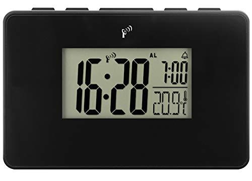 Krippl-Watches Funkwecker mit Digitalanzeige + Temperatur, LAUTLOS, Farbe:schwarz