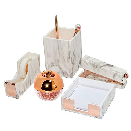 Acrylic Marble Desktop Organizer Set Stapler with Staples, Pencil Holder, Tape Dispenser, Memo Holder, Magnetic Paperclip Holder with Paper Clips Office Supplies for Women Girls (Marble Rose Gold)