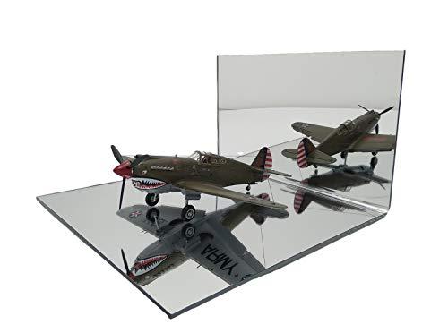 LASERPLAST Peana base modelismo cuadrada forma con ángulo de metacrilato de espejo - Soporte pedestal hobbies, Wargames - Peana comercio escaparate (Tamaño 25x25 cm, 1 unidad)