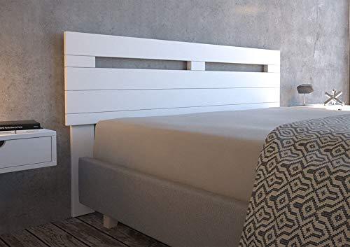 LA WEB DEL COLCHON - Cabecero de Madera Rústico Provenza para Cama de 180 (190 x 90 cms.) Blanco nórdico | Cabeceros Madera | Dormitorio Matrimonio | Cabezal Cama |Estilo nórdico