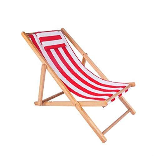 PLBB3K Silla de Playa Silla de Madera sólida Oxford Tela sillón reclinable Exterior de Descanso del Almuerzo portátil Rayas de Madera reclinables-Rosa (Color : Pink Stripes)