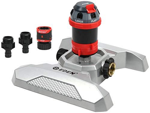 Eden 94122EDAMZ Drehgetriebe aus Metall, verstellbar, 6 Stufen, mit Schnellverbinder und Adaptern Sprinkler-Set, 360 Grad Abdeckung