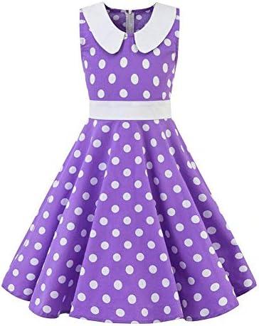 Kids Girls Audrey Vintage 1950s Polka Dot Rockabilly Dress Peter Pan Doll Collar A line Swing product image