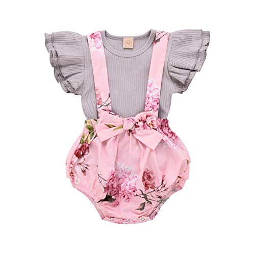 Conjunto de verão para bebês meninas com manga de babados e alça floral