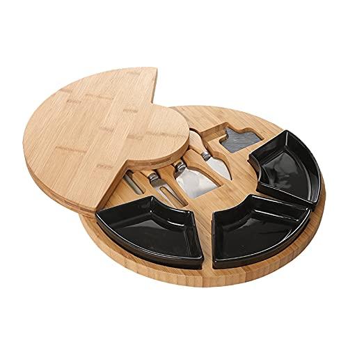 LOVIVER Tabla de queso de bambú y juego de cuchillos bandeja de corte para galletas de vino y carne elección perfecta para los pingüinos - Negro