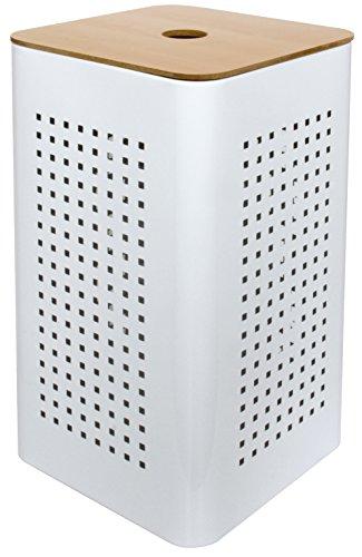 Gelco 707540- cesto para la Ropa de Metal y Madera, Blanco, 30x 30x 50cm