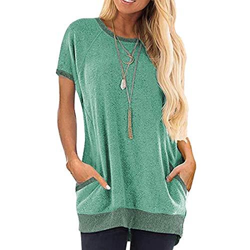 Camiseta para Mujer Top de Verano Cuello Redondo Informal con Bolsillo Camiseta para Mujer Cuello Redondo Manga Corta Top Informal de Verano Blusa Suelta Tops - Material Suave - Muy cómodo de Llevar