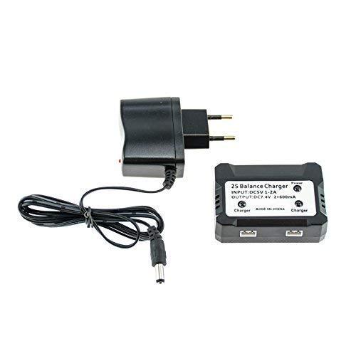 Doppio caricatore Efaso da 7,4 V con spina di alimentazione – Caricatore con bilanciatore per due batterie – Adatto per diversi modelli RC – ad esempio X101, X600, F45, F49, WLToys 12428, A959