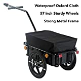 57-inch Steel Frame Bicycle Bike Cargo Trailer Steel Carrier Storage Cart Wheel Runner for Shopping (Waterproof Oxford Cloth)