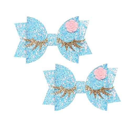 Beaupretty 2pcs filles cheveux mignon clips arcs épingles à chignons mignon double couche sequin barette belle Couvre-chef bowknot bleu cil or