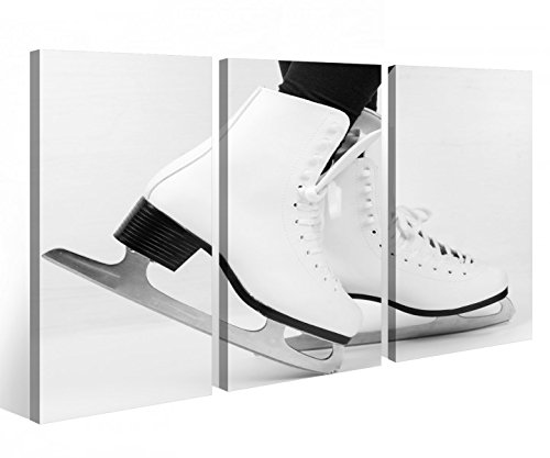 Leinwandbild 3 Tlg. Eislauf Eis Schuhe Tanz Sport Schlittschuh schwarz weiß Leinwand Bilder Holz fertig gerahmt 9R746, 3 tlg BxH:90x60cm (3Stk 30x 60cm)