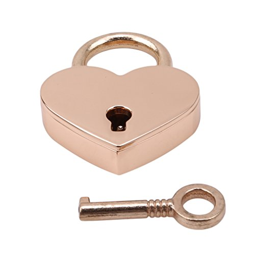 L_shop Retro Vintage Personalized Heart Shape Padlock with Key Travel Luggage Suitcase Locker Set,Rose Gold,3 * 4cm/2.5cm
