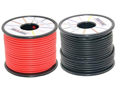 TUOFENG 16 awg Cable electrónico, 50 metros Cable de silicona Alambre de cobre estañado flexible 25 m Negro y 25 m Rojo Cable trenzado Resistencia a altas temperaturas