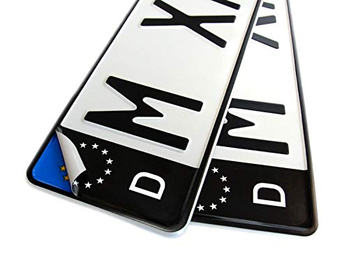 4x Kennzeichen Nummernschild schwarz Aufkleber Sticker EU-Feld SET inkl. 4x Reinigungstücher + Klebeanleitung