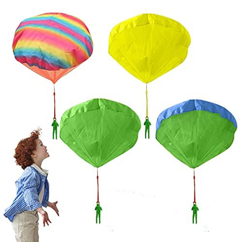 Fallschirm Spielzeug Kinder Fallschirmspringer Spielzeug 4 Stück Fallschirmspielzeuge für Kinder Wurfspiele für Draußen Kleine Geschenke für Kinder (C 4pcs)