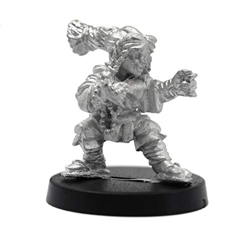 Stonehaven Miniatures Female Dwarven Monk Miniature Figure, 100% Pewter Metal - 24mm Tall - (for 28mm Scale Table Top War Games) - Made in USA