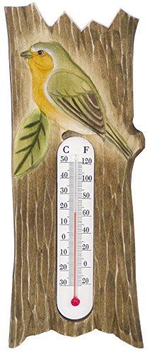 Générique 1485 Thermomètre Mural Rouge Gorge en Bois, 8,5x24x1,5 cm