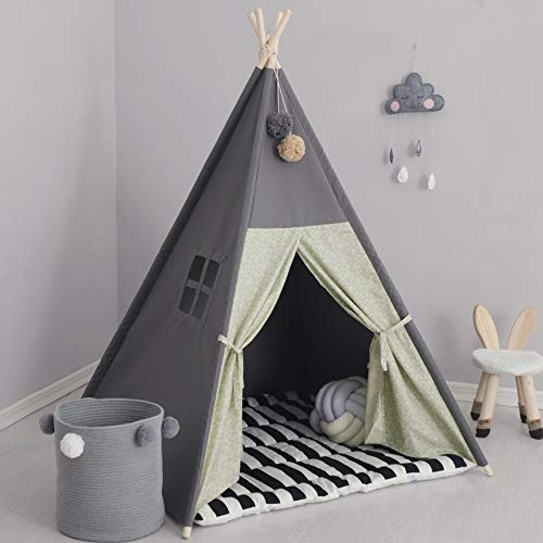 TreeBud Teepee Tent for Kids with Padded Mat Foldable Dark Tone Play Tents for Girl and Boy with Carry Case Canvas Tepee Playhouse for Child Indoor Outdoor