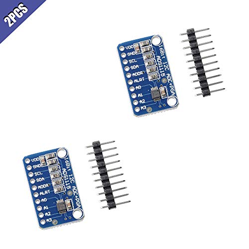 Best Review Of Ximimark 2Pcs ADS1115 Analog-to-Digital Converter 16 Bit 4 Channel ADC PGA Development Board Module with Programmable Gain Amplifier for Arduino Raspberry Pi