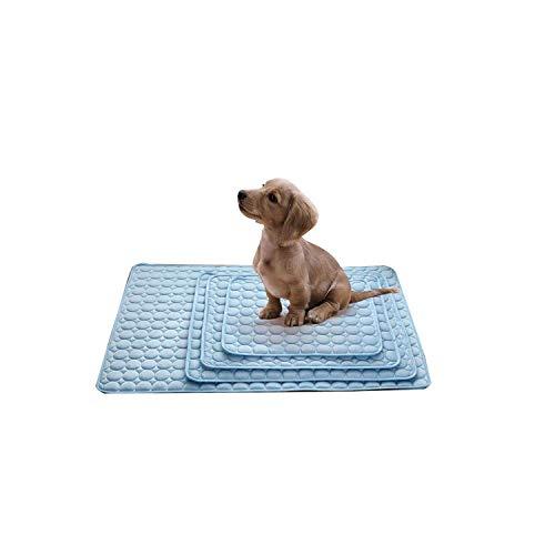 Robes for animal de compagnie |Chien Tapis de refroidissement d'été tapis de tapis for les chiens de chat Blanket Canapé Respirant chien Lit d'été for Lavable Petit Moyen Gros Chiens 3-Bleu-70X56Cm HL