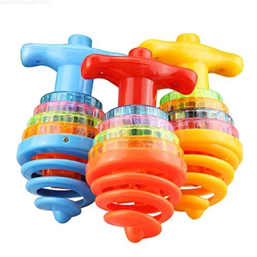 tianlanshuilv Juguete parpadeante, juguete giratorio giratorio,Juguete giratorio colorido giroscopio,Juguete giratorio de color aleatorio LED giratorio con juguete de música Peg-top