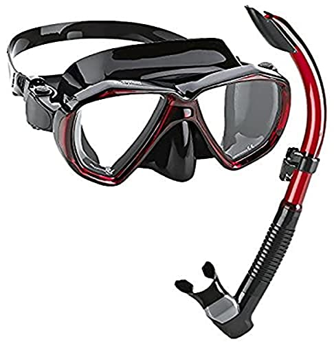 Phantom Aquatics Velocity Scuba Snorkeling Mask Snorkel Set, Black Red