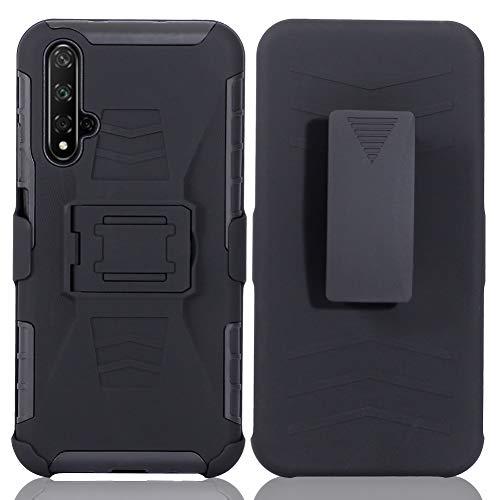 DWaybox Custodia for Nova 5T 3 in 1 Combo Hard Heavy Duty Custodia with Kickstand And Swivel Belt Clip on Shell Back Compatible for Huawei Honor 20/Nova 5T 6.26 inch (Black)