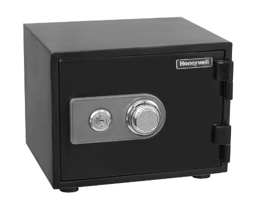 Honeywell Safes & Door Locks - 2101 Steel Fireproof and Waterproof Security Safe with Dual Dial and Key Lock Protection, 0.50-Cubic Feet, Black