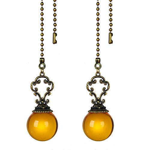 Set of 2 Vintage-Style Amber Fan Pull Ceiling Fan Chain Pulls Crystal Ball