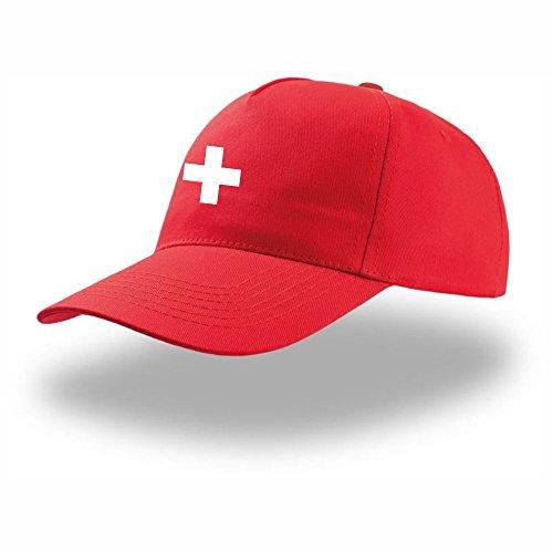 Design4you Cap Schweizer-Flagge (Rot) Geschenkidee Geschenkvorschlag Schweiz Reisen Mitbringsel Souvenir