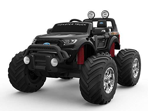 Zwarte 12 V 10 A Ranger Monster met licentie 4 motoren voor kinderen in de auto met EVA-wielen (Premium lederen stoelversie MT550)
