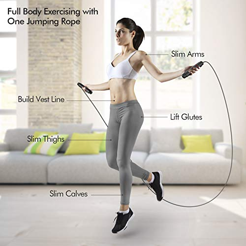 FITFORT Skipping Rope Adult - Fitness Jump Rope, Tangle Rapid Speed Skipping Rope Cable with Ball Bearings,for Women, Men, and Kids, Adjustable Steel Skipping Rope with Foam Handles for Home Fitness