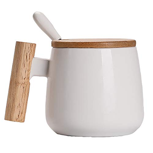 R RUNVEL Espressotassen Kaffeetassen groß Kaffeetassen mit Deckel und Edelstahllöffel KeramikTasse mit Holzgriff 400 ML Tassen kaffeebecher Coffee Cup Weiß