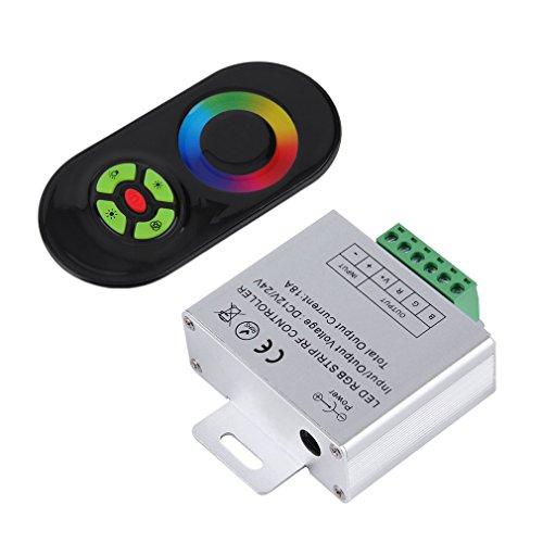 Mando a distancia inalámbrico RF para tira de luces LED RGB, CC 12 V/24 V, mando a distancia y controlador LED (RGB + negro)