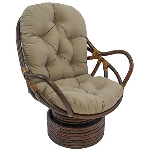 Blazing Needles Solid Twill Swivel Rocker Chair