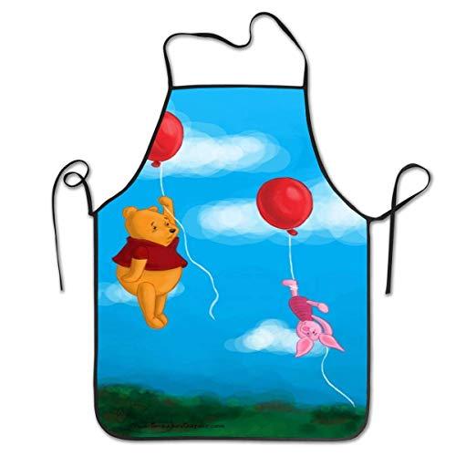 Lawenp Delantales Personalizados Winnie The Pooh y Piglet Flying with Ballons Delantal con Babero de Cocina Unisex con Cuello Ajustable para cocinar, Hornear, jardinería, 28 x 21 Pulgadas