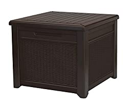 Keter 55 Gallon Resin Outdoor Deck Box Table in One with Patio Furniture Cushion Storage, 1 Pack, Brown