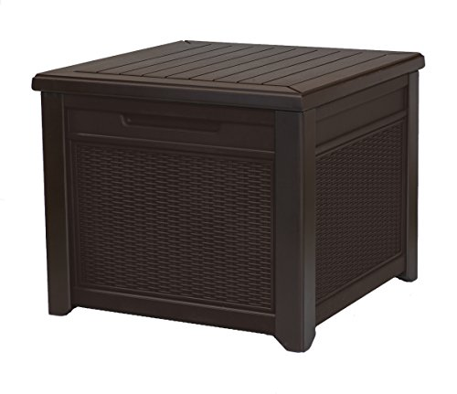 Keter 55 Gallon Resin Rattan Style Outdoor Deck Box Table in One with Patio Furniture Cushion...