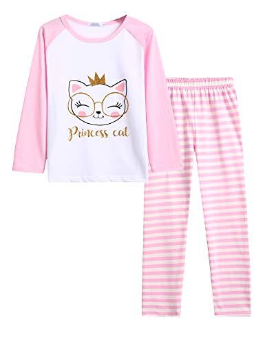 Bricnat Schlafanzug Mädchen 128 Lang Kinder Pyjama Set 122 Langarm Nachtwäsche Zweiteilig Frühling Weihnachten Ostern 130 Rosa