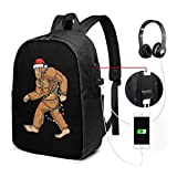 Zaino portatile per Natale Bigfoot USB da portare con sé Zaino per laptop da 17 pollici per scuola di viaggio Busin