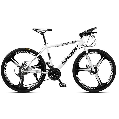 Bicicleta De MontañA Todoterreno para Adultos JóVenes, Bicicleta De MontañA Todoterreno De 26 Pulgadas, Bicicleta De Acero Al Carbono De 21 Velocidades Y 3 Radios 27speed White