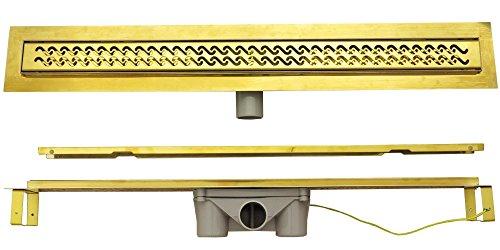 Duschrinne 80 cm Edelstahl Befliesbar Gold Ablaufrinne Dusche Ablaufrinne Duschablauf Ablauf Geruchsverschluss Rinne