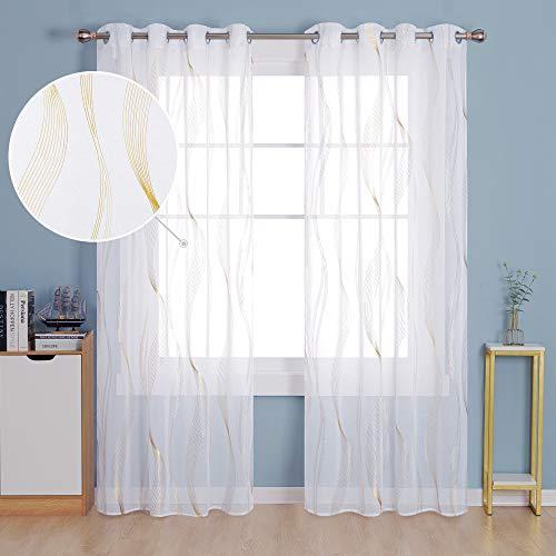 Deconovo Tende Trasparenti Finestre Soggiorno in Voile Moderne per Interni Curva Onda Oro con Occhielli 140x280cm Bianco 2 Pannelli